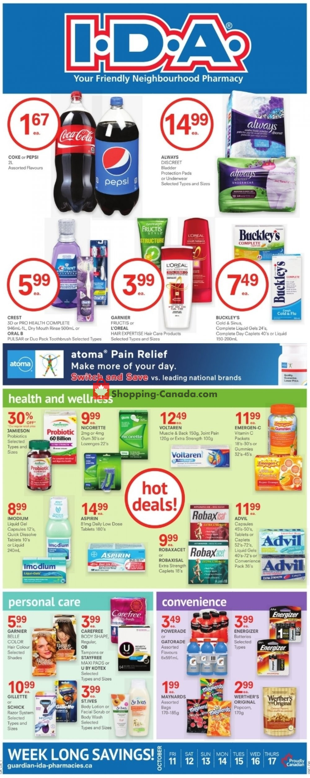 Flyer I.D.A. Canada - from Friday October 11, 2019 to Thursday October 17, 2019