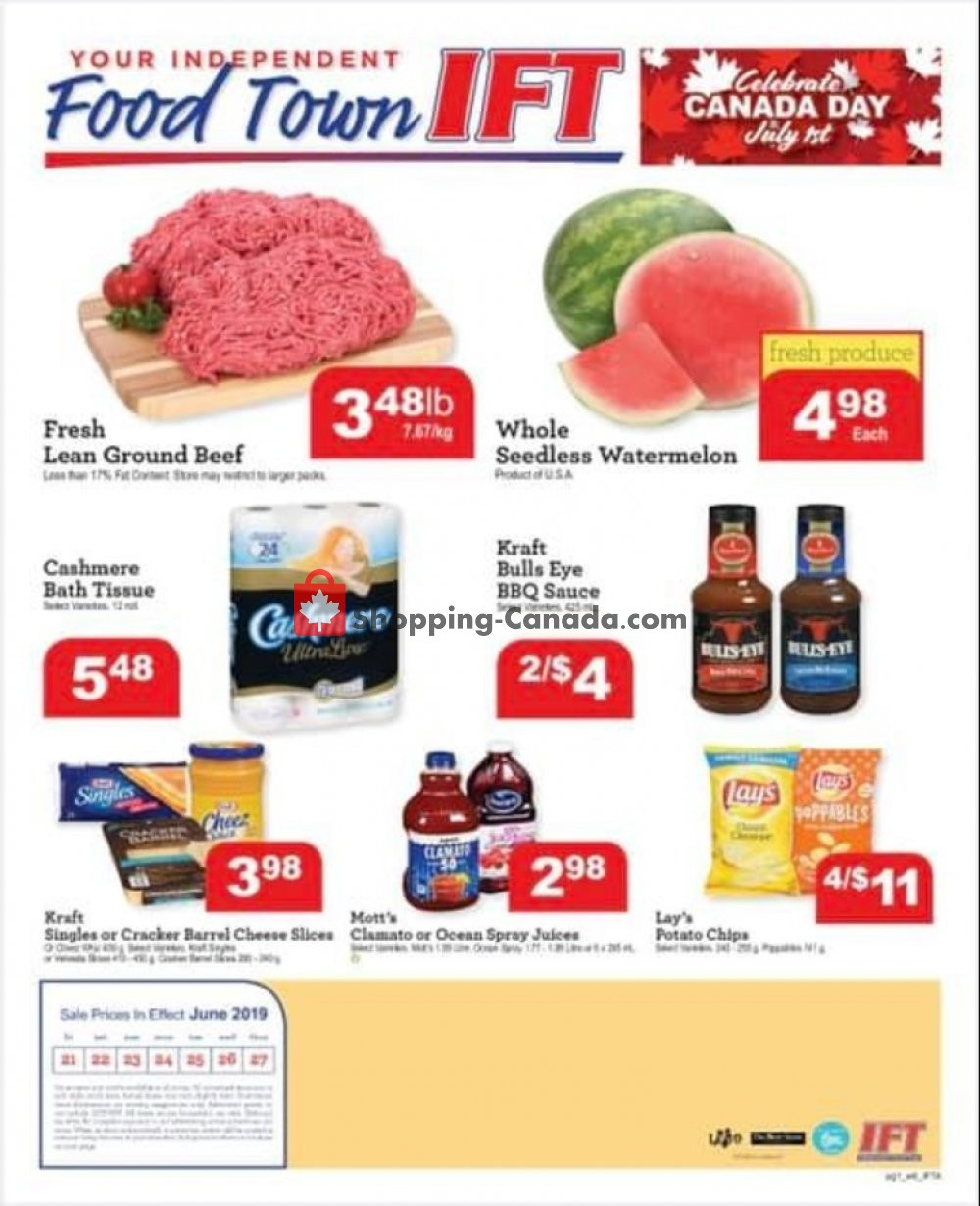 Flyer IFT Independent Food Town Canada - from Friday June 21, 2019 to Thursday June 27, 2019