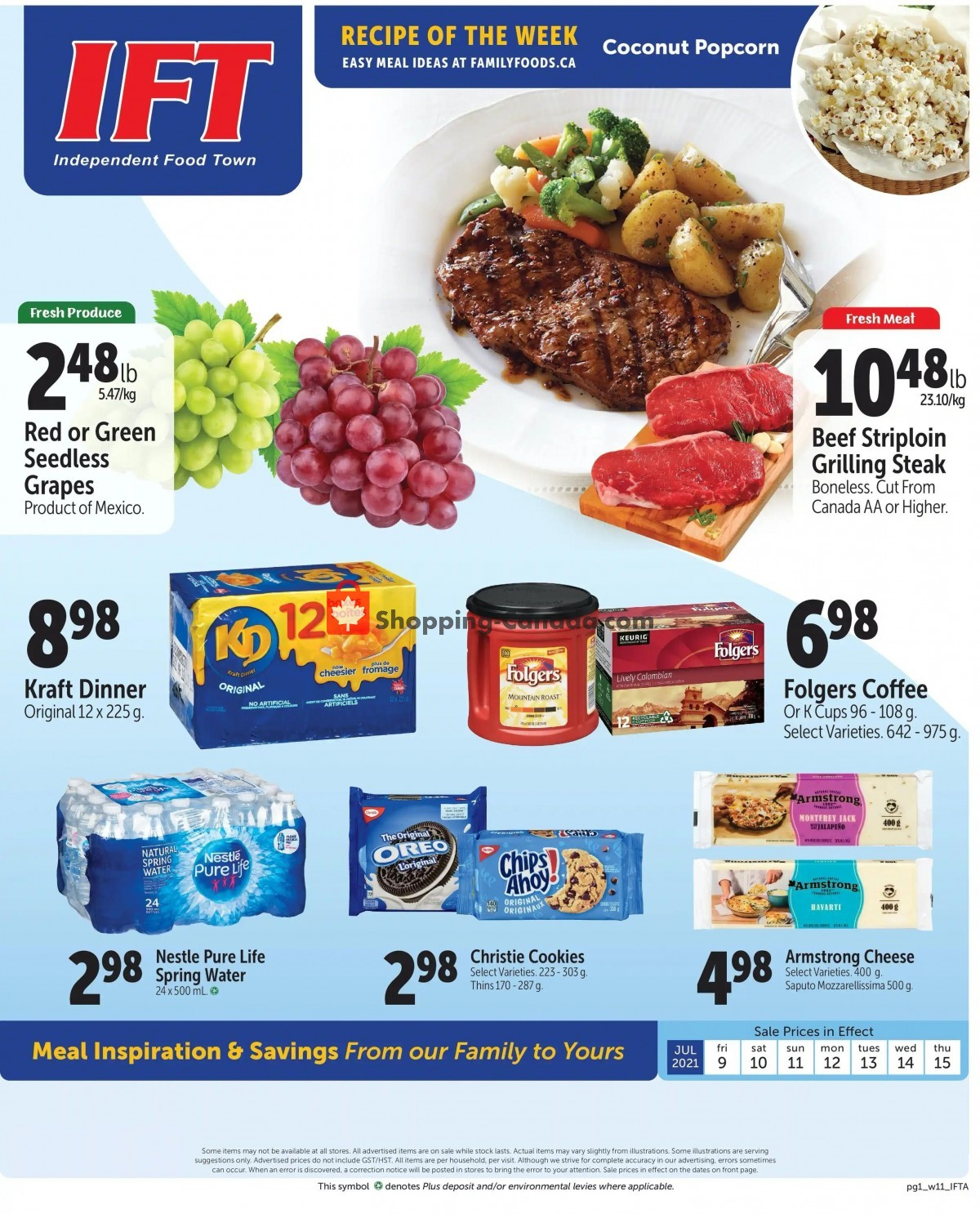 Flyer IFT Independent Food Town Canada - from Friday July 9, 2021 to Thursday July 15, 2021