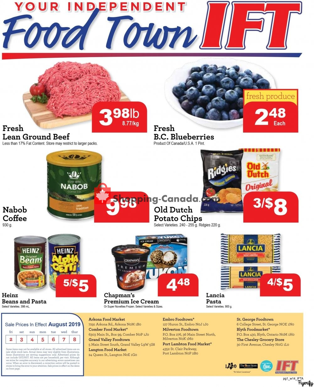 Flyer IFT Independent Food Town Canada - from Friday August 2, 2019 to Thursday August 8, 2019