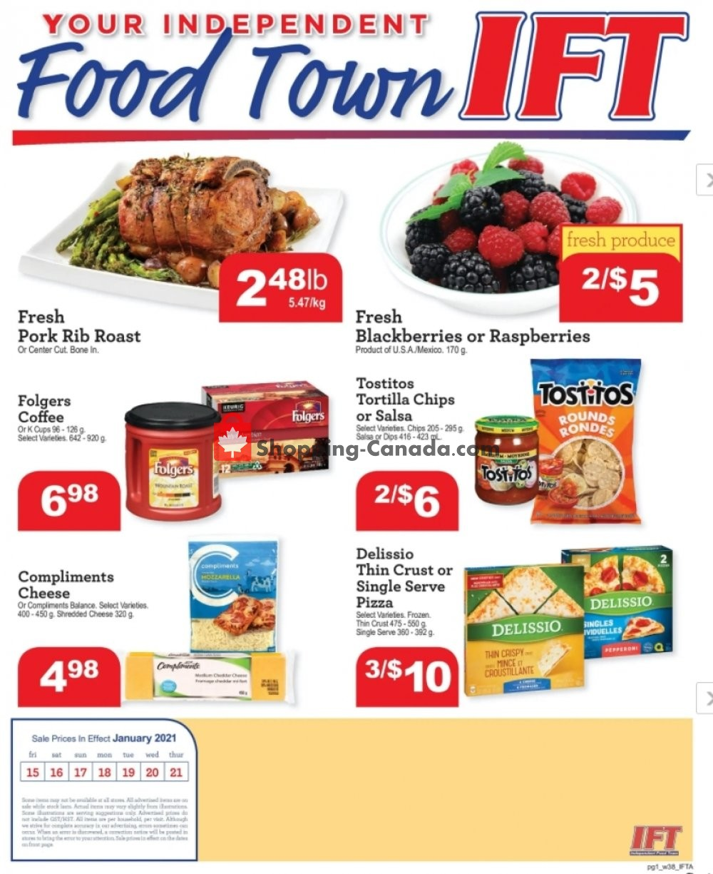 Flyer IFT Independent Food Town Canada - from Friday January 15, 2021 to Thursday January 21, 2021