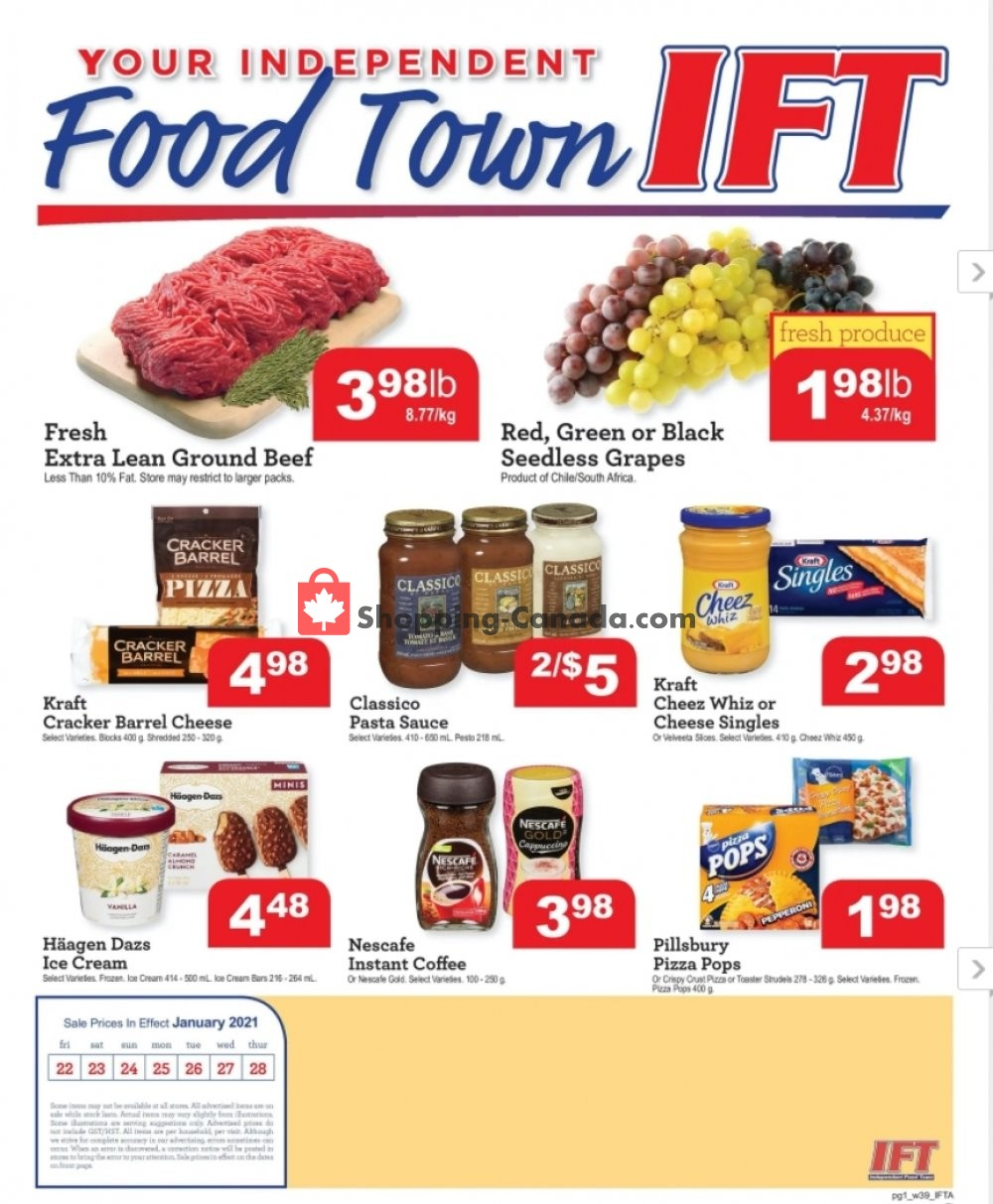 Flyer IFT Independent Food Town Canada - from Friday January 22, 2021 to Thursday January 28, 2021