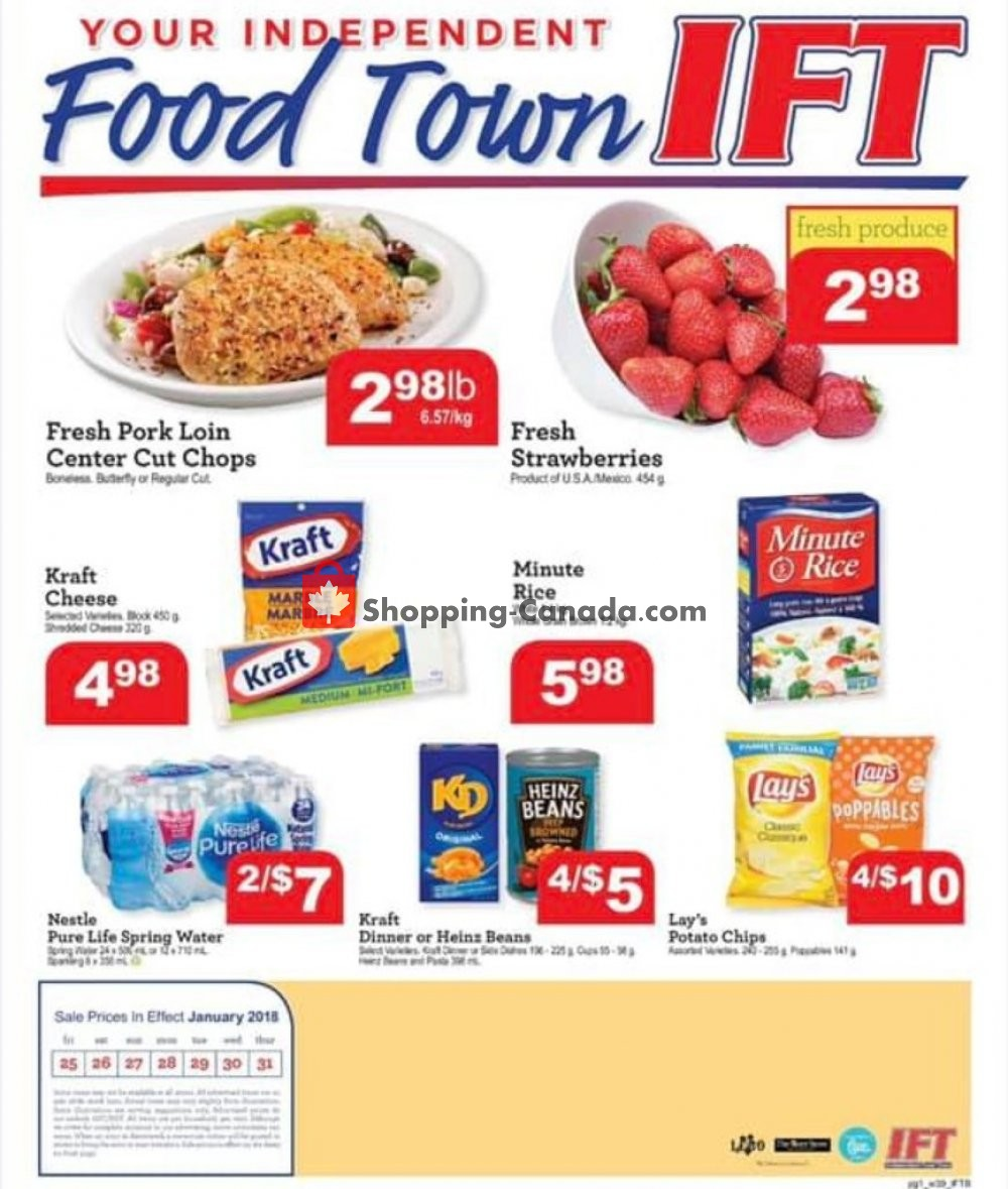 Flyer IFT Independent Food Town Canada - from Friday January 25, 2019 to Thursday January 31, 2019