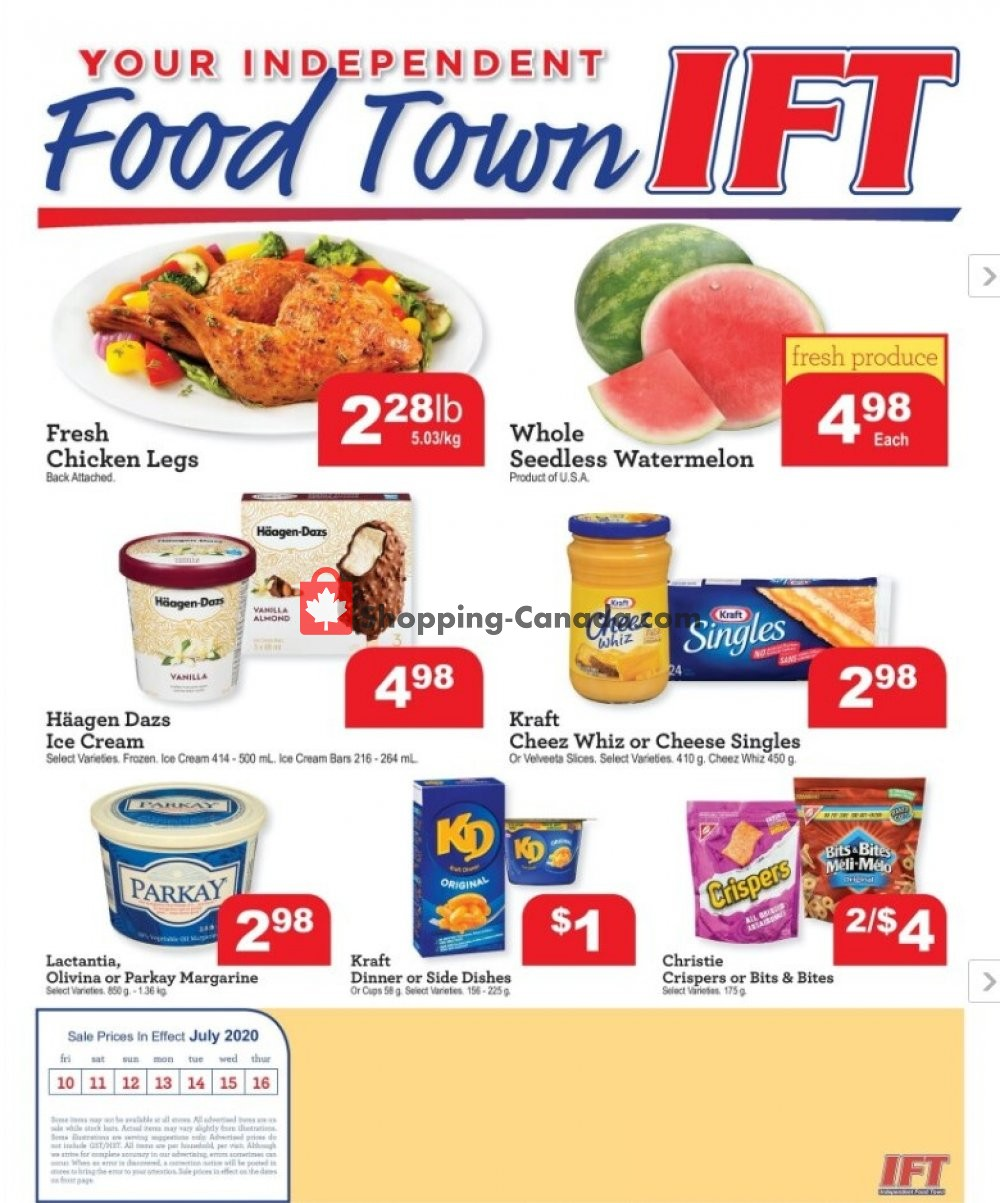 Flyer IFT Independent Food Town Canada - from Friday July 10, 2020 to Thursday July 16, 2020