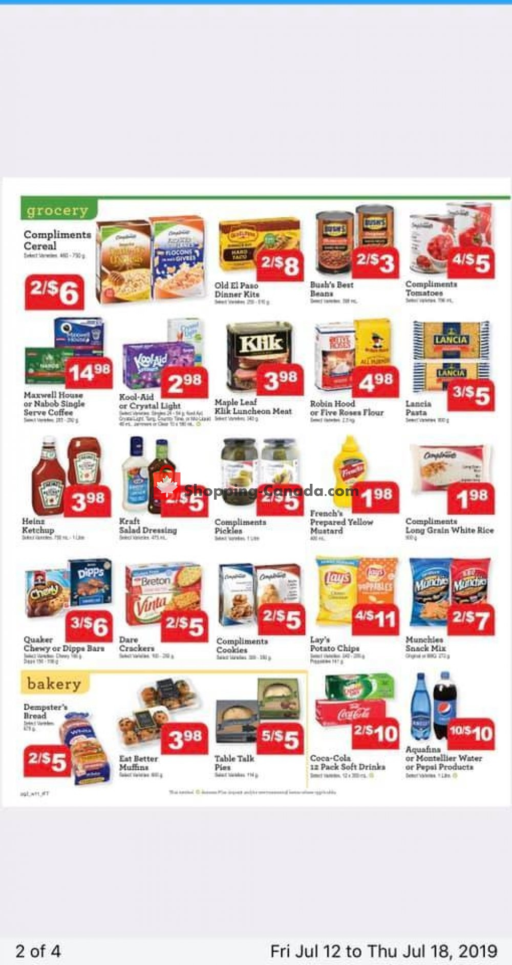 Flyer IFT Independent Food Town Canada - from Friday July 12, 2019 to Thursday July 18, 2019