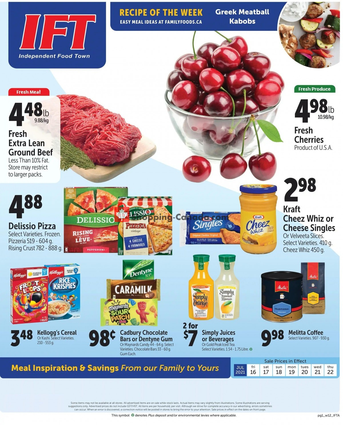 Flyer IFT Independent Food Town Canada - from Friday July 16, 2021 to Thursday July 22, 2021