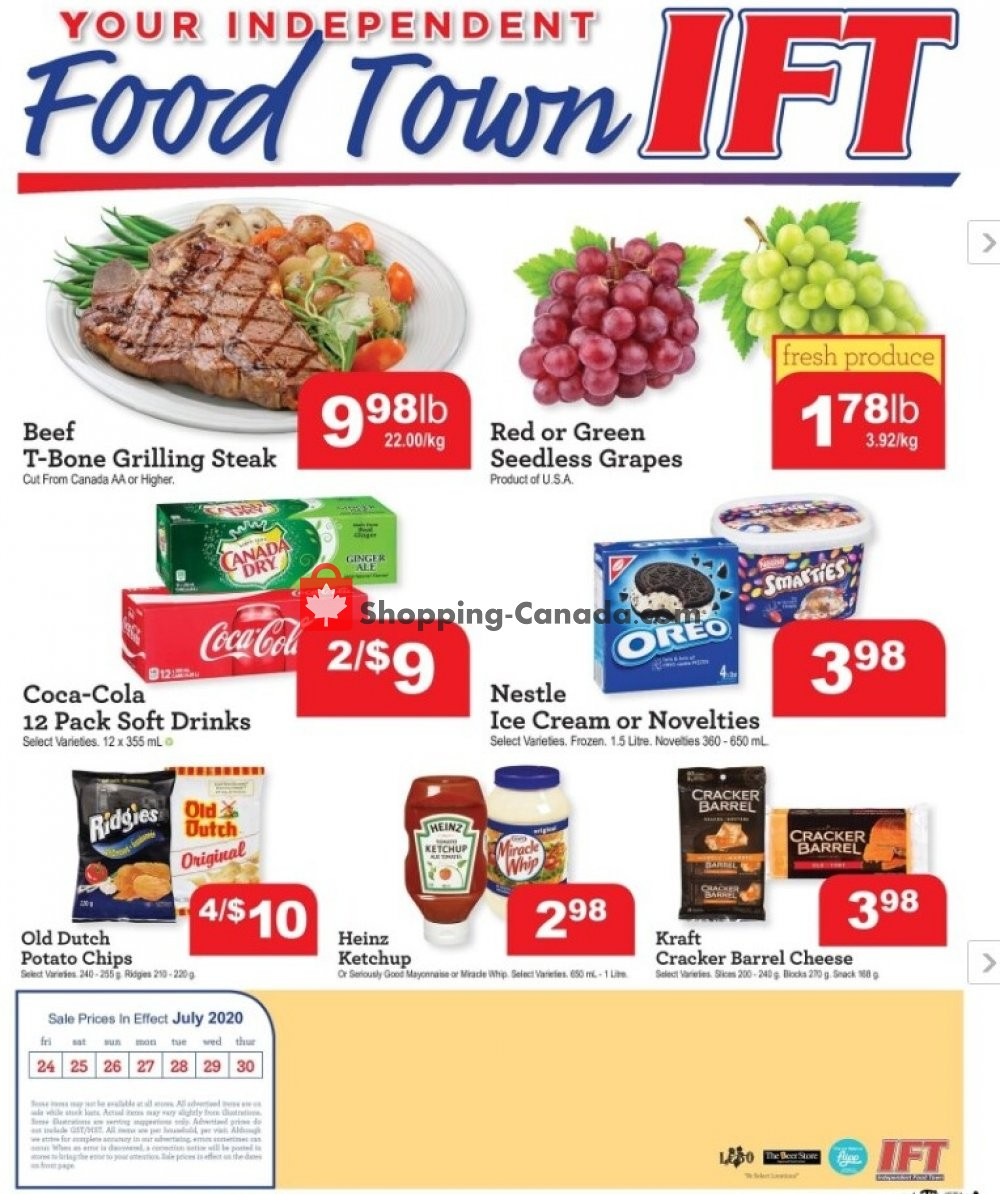 Flyer IFT Independent Food Town Canada - from Friday July 24, 2020 to Thursday July 30, 2020