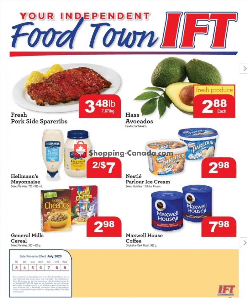 Flyer IFT Independent Food Town Canada - from Friday July 3, 2020 to Thursday July 9, 2020