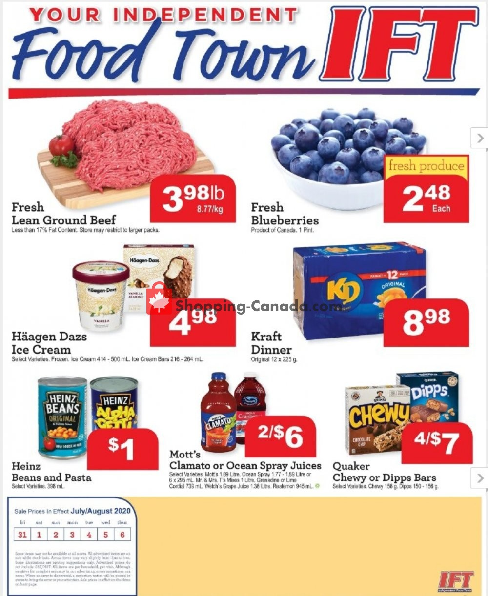 Flyer IFT Independent Food Town Canada - from Friday July 31, 2020 to Thursday August 6, 2020