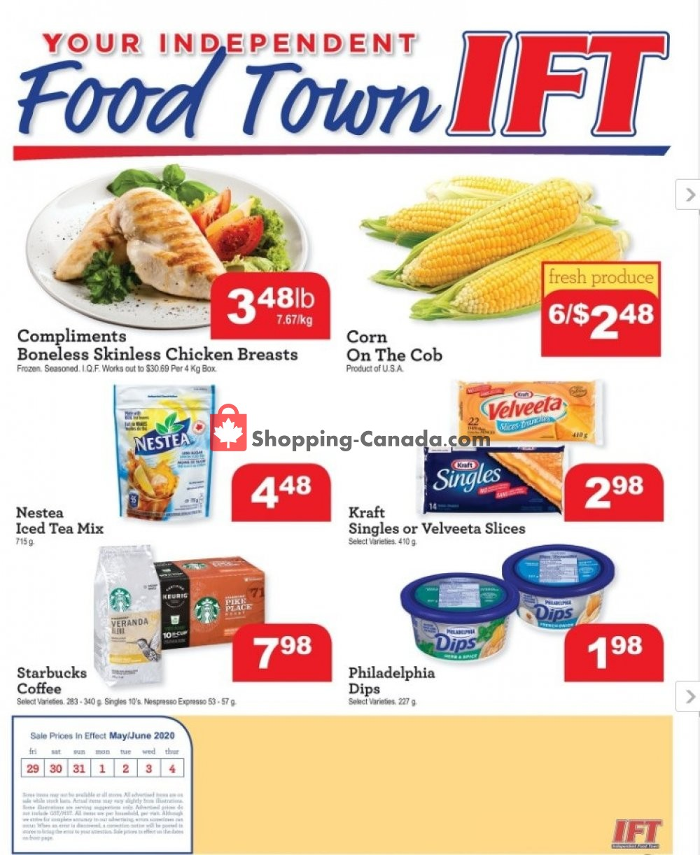 Flyer IFT Independent Food Town Canada - from Friday May 29, 2020 to Thursday June 4, 2020