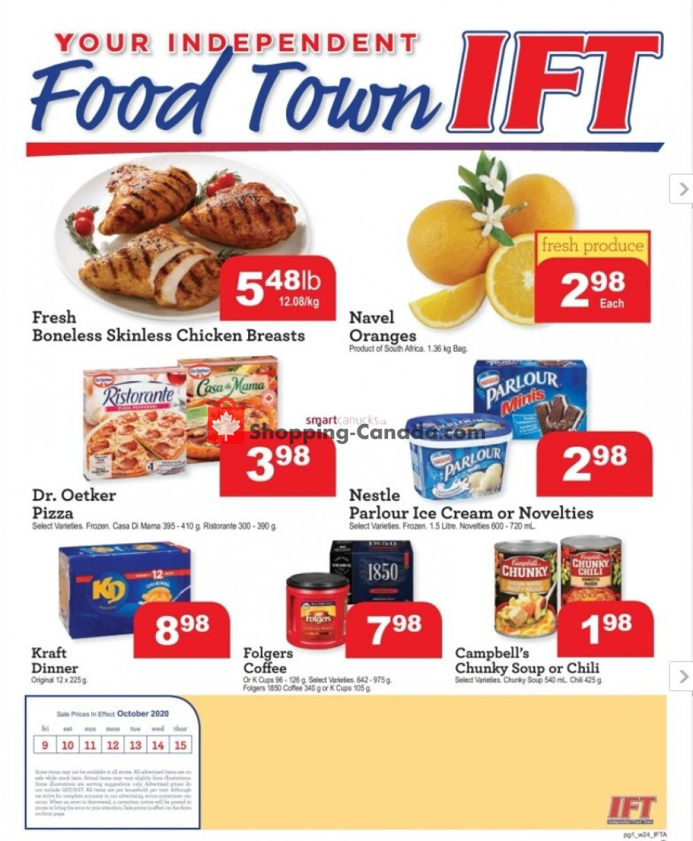 Flyer IFT Independent Food Town Canada - from Friday October 9, 2020 to Thursday October 15, 2020