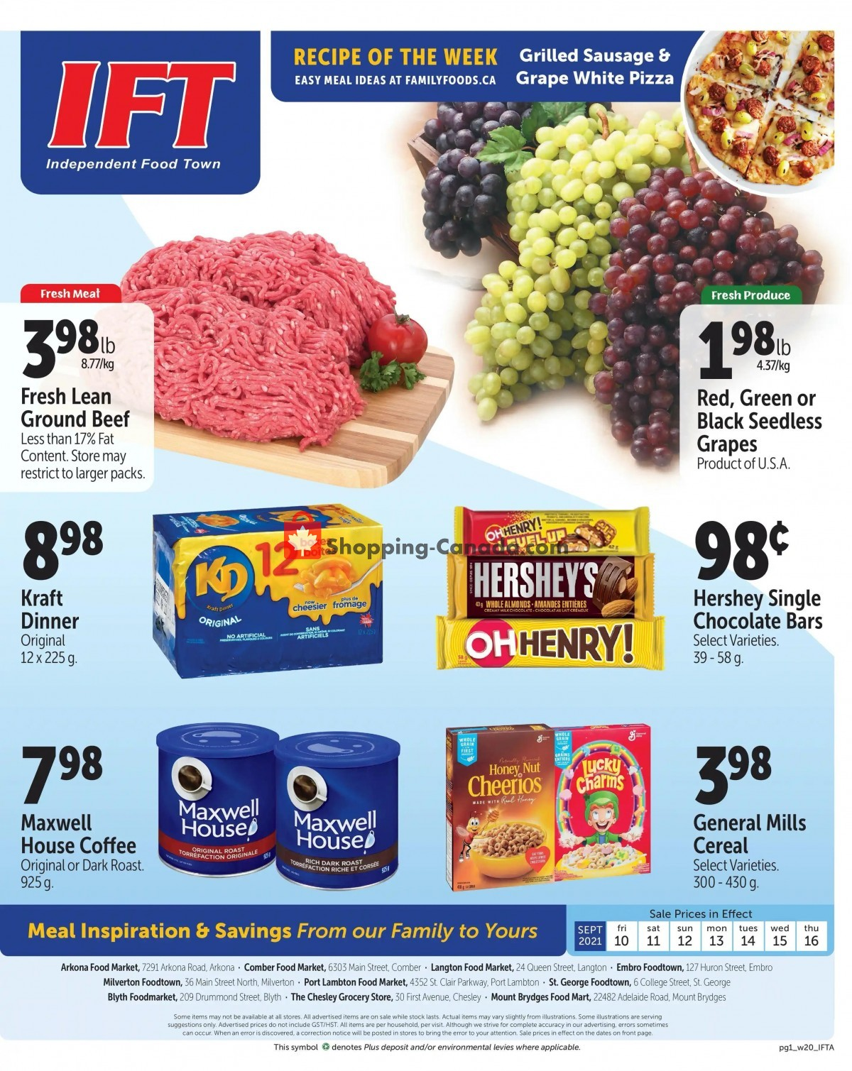 Flyer IFT Independent Food Town Canada - from Friday September 10, 2021 to Thursday September 16, 2021