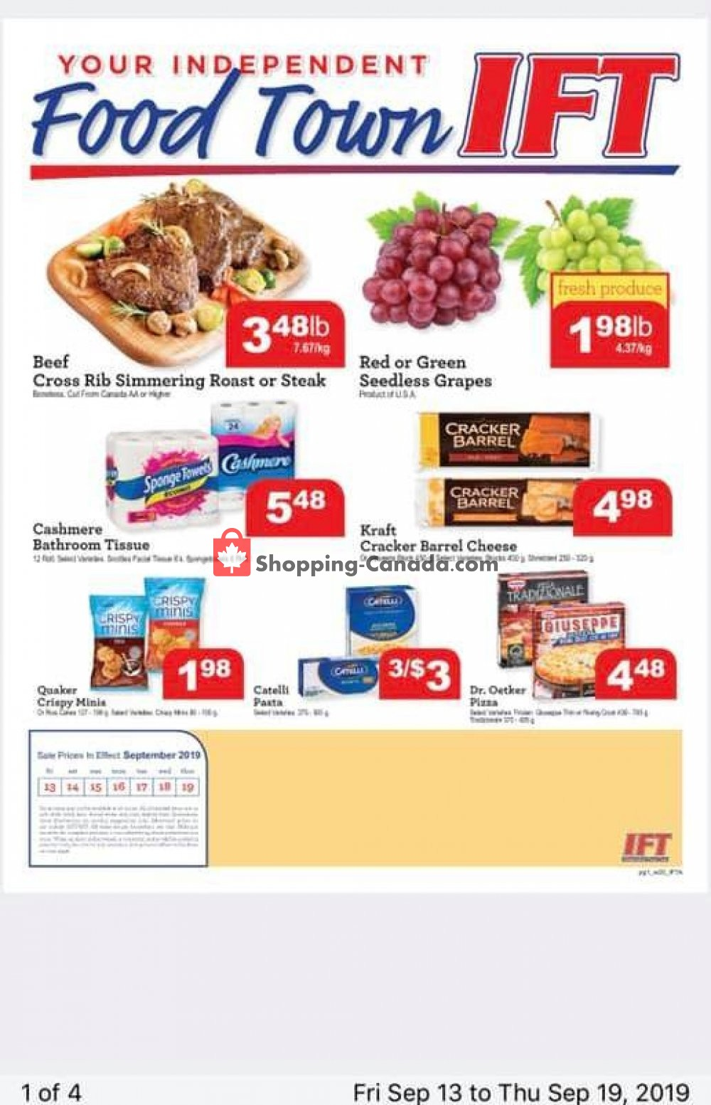 Flyer IFT Independent Food Town Canada - from Friday September 13, 2019 to Thursday September 19, 2019