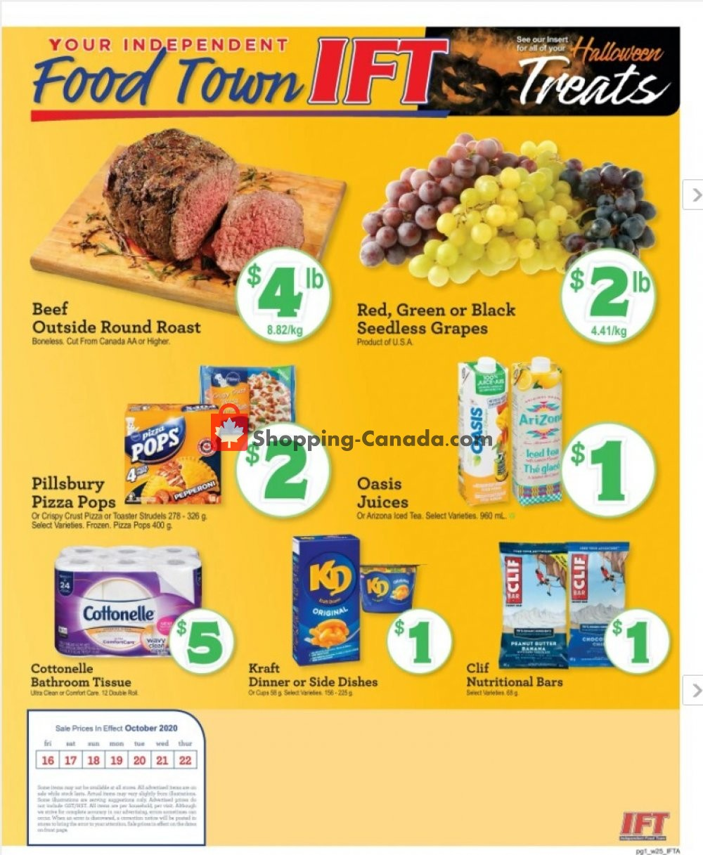Flyer IFT Independent Food Town Canada - from Friday October 16, 2020 to Thursday October 22, 2020