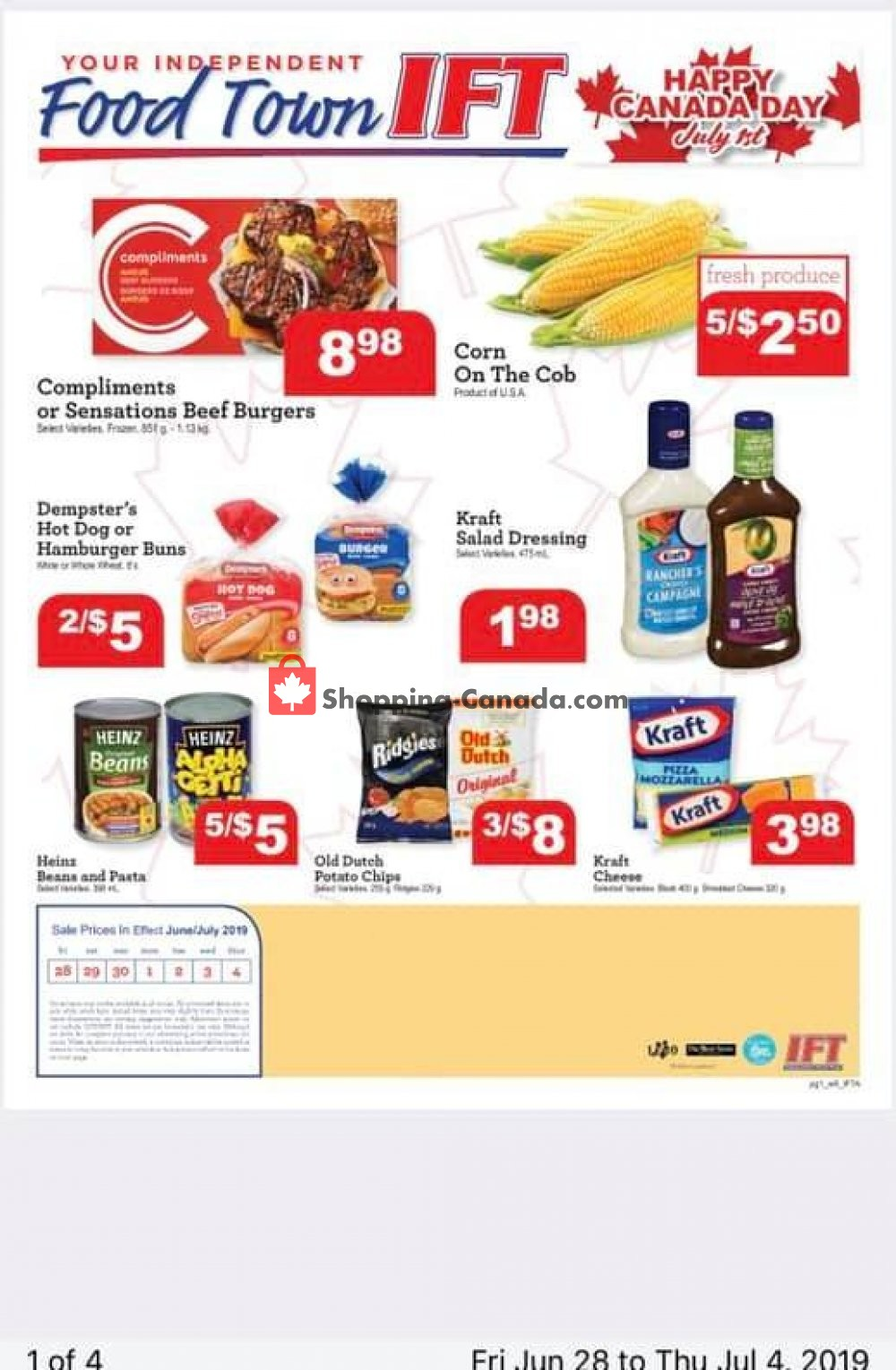Flyer IFT Independent Food Town Canada - from Friday June 28, 2019 to Thursday July 4, 2019