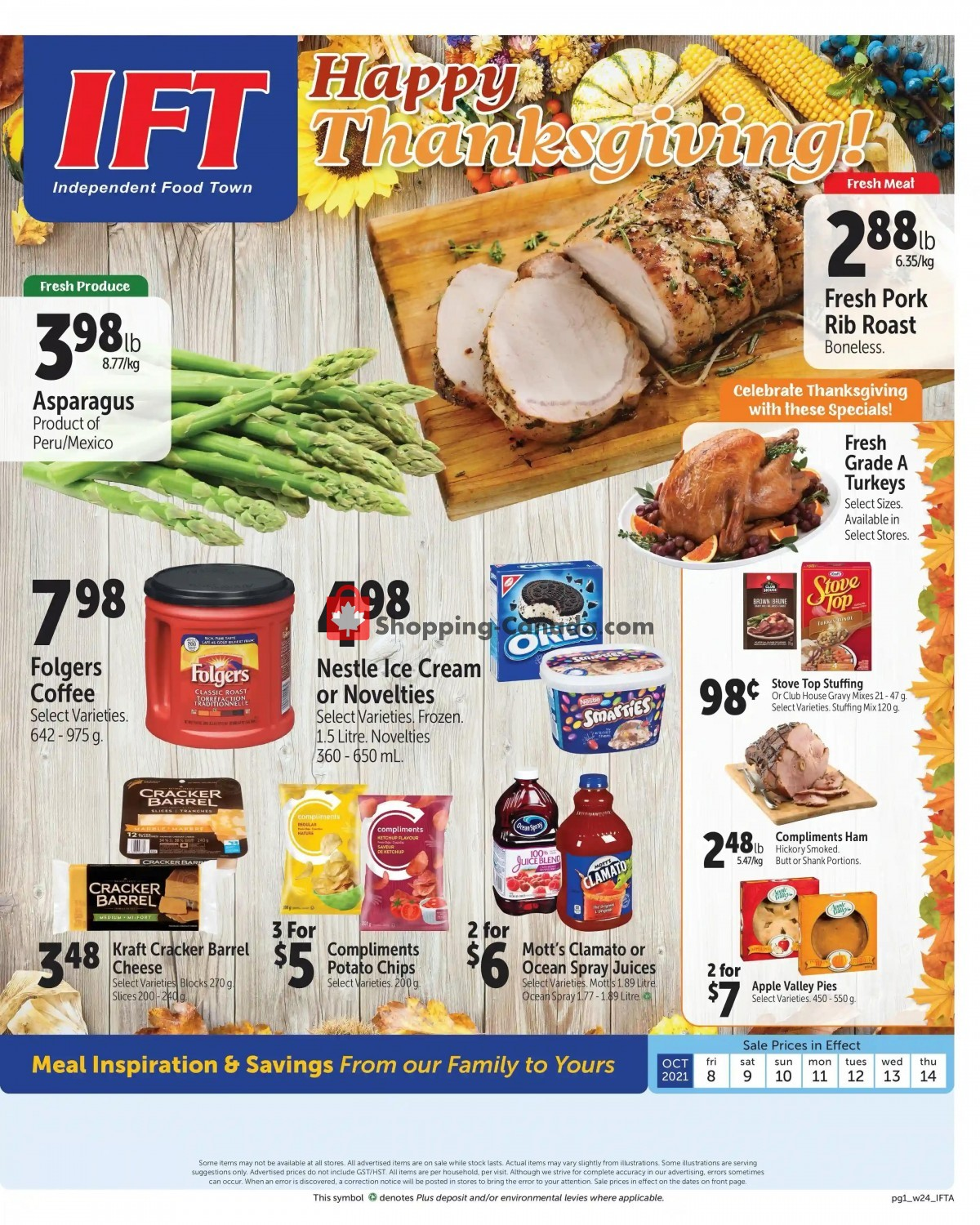 Flyer IFT Independent Food Town Canada - from Friday October 8, 2021 to Thursday October 14, 2021
