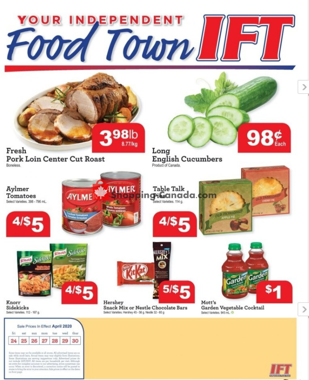 Flyer IFT Independent Food Town Canada - from Friday April 24, 2020 to Thursday April 30, 2020