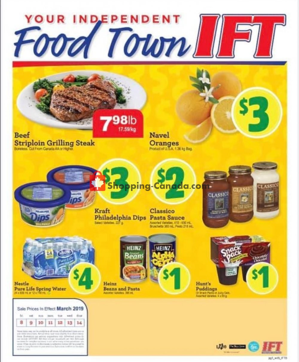 Flyer IFT Independent Food Town Canada - from Friday March 8, 2019 to Thursday March 14, 2019