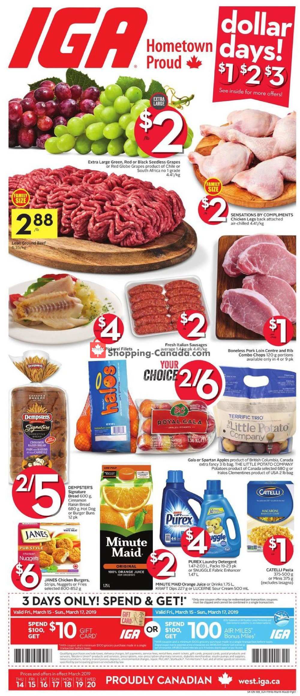 Flyer IGA Extra Canada - from Thursday March 14, 2019 to Wednesday March 20, 2019