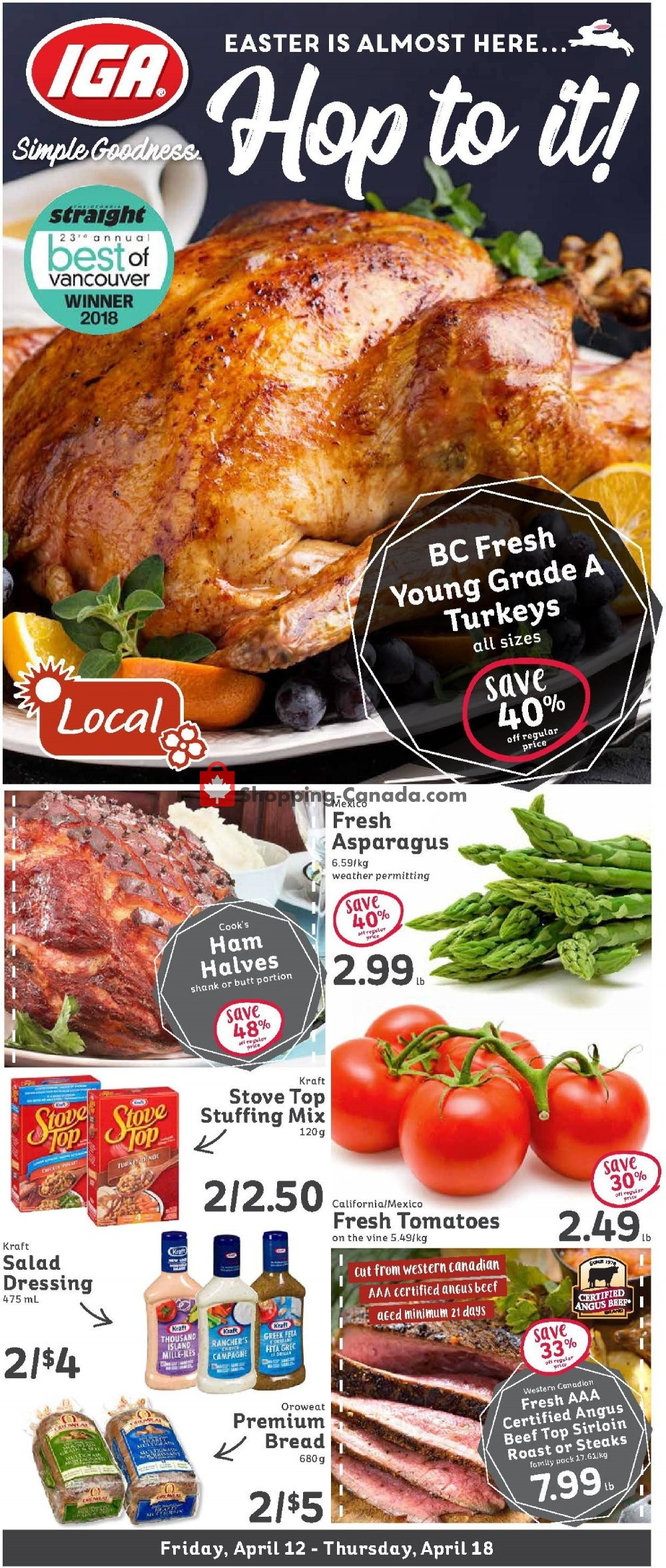 Flyer IGA Extra Canada - from Friday April 12, 2019 to Thursday April 18, 2019