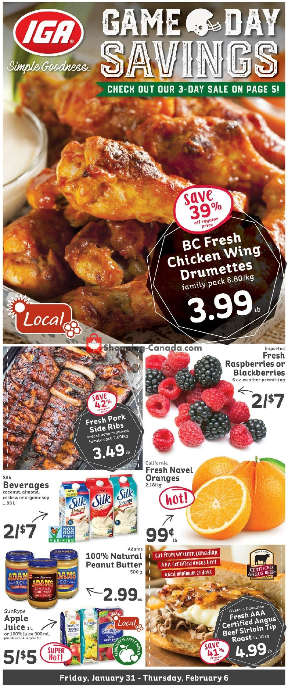 Flyer IGA Extra Canada - from Friday January 31, 2020 to Thursday February 6, 2020