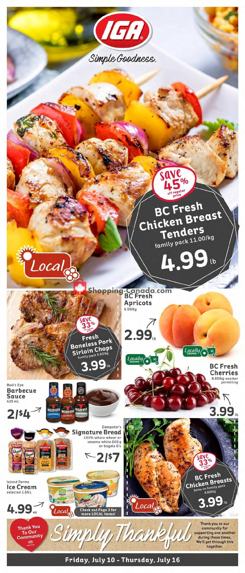Flyer IGA Extra Canada - from Friday July 10, 2020 to Thursday July 16, 2020