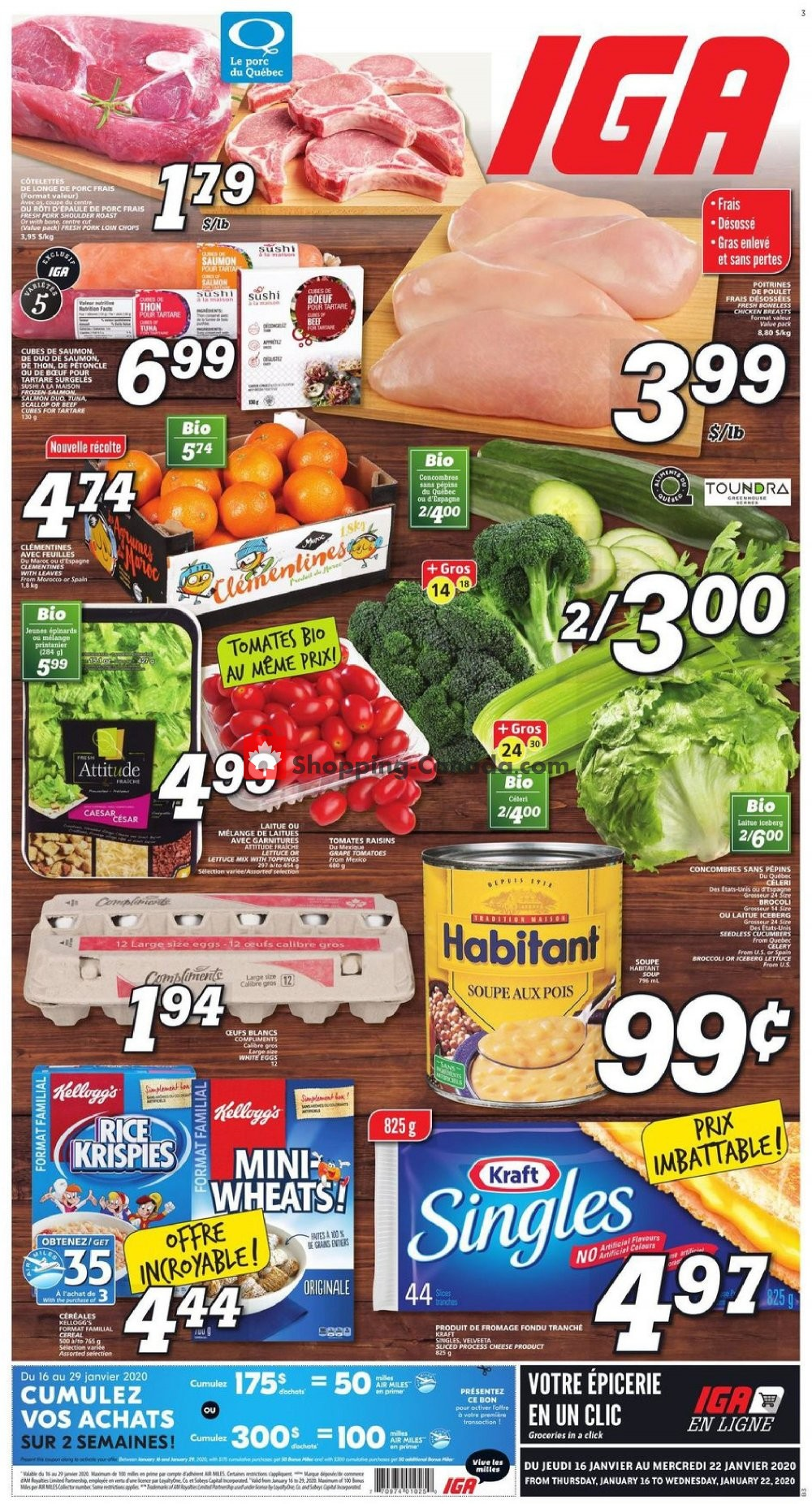 Flyer IGA Extra Canada - from Thursday January 16, 2020 to Wednesday January 22, 2020