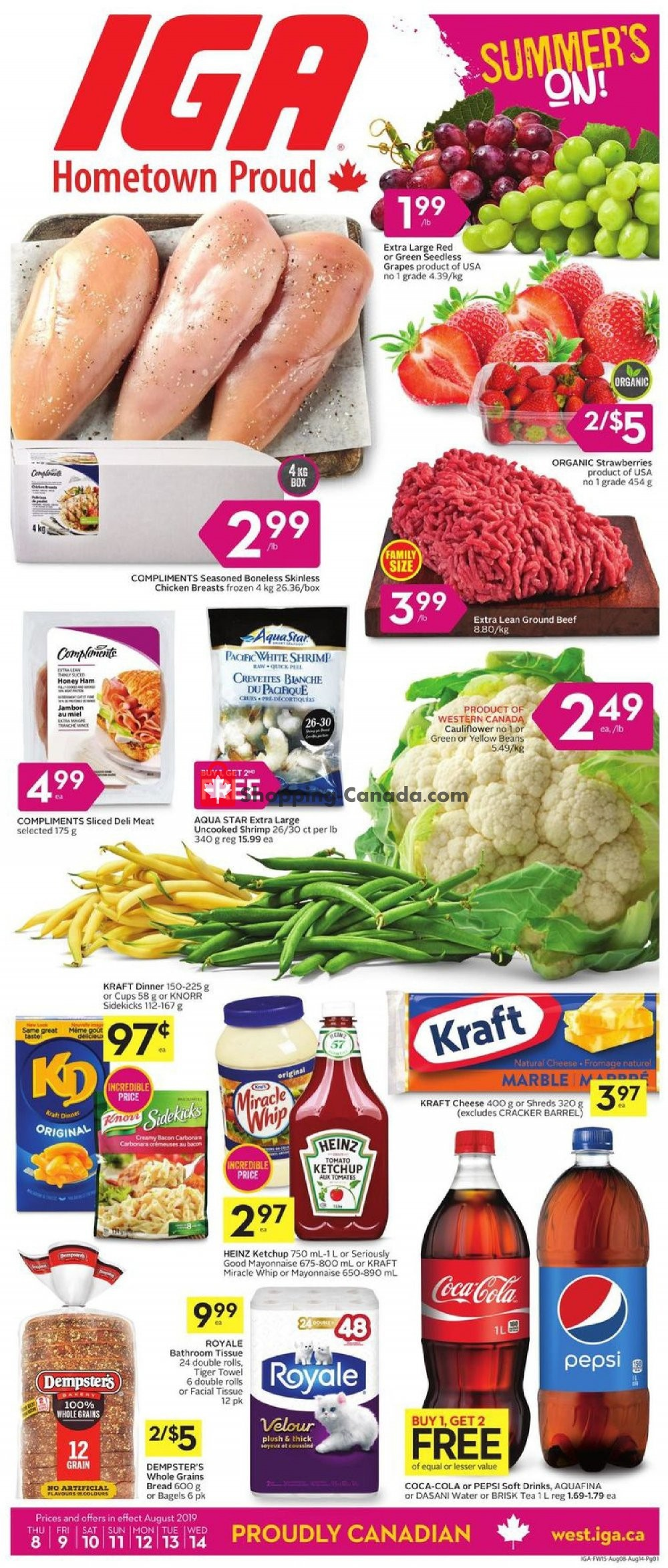 Flyer IGA Extra Canada - from Thursday August 8, 2019 to Wednesday August 14, 2019