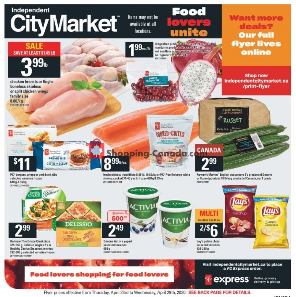 Flyer Independent City Market Canada - from Thursday April 23, 2020 to Wednesday April 29, 2020