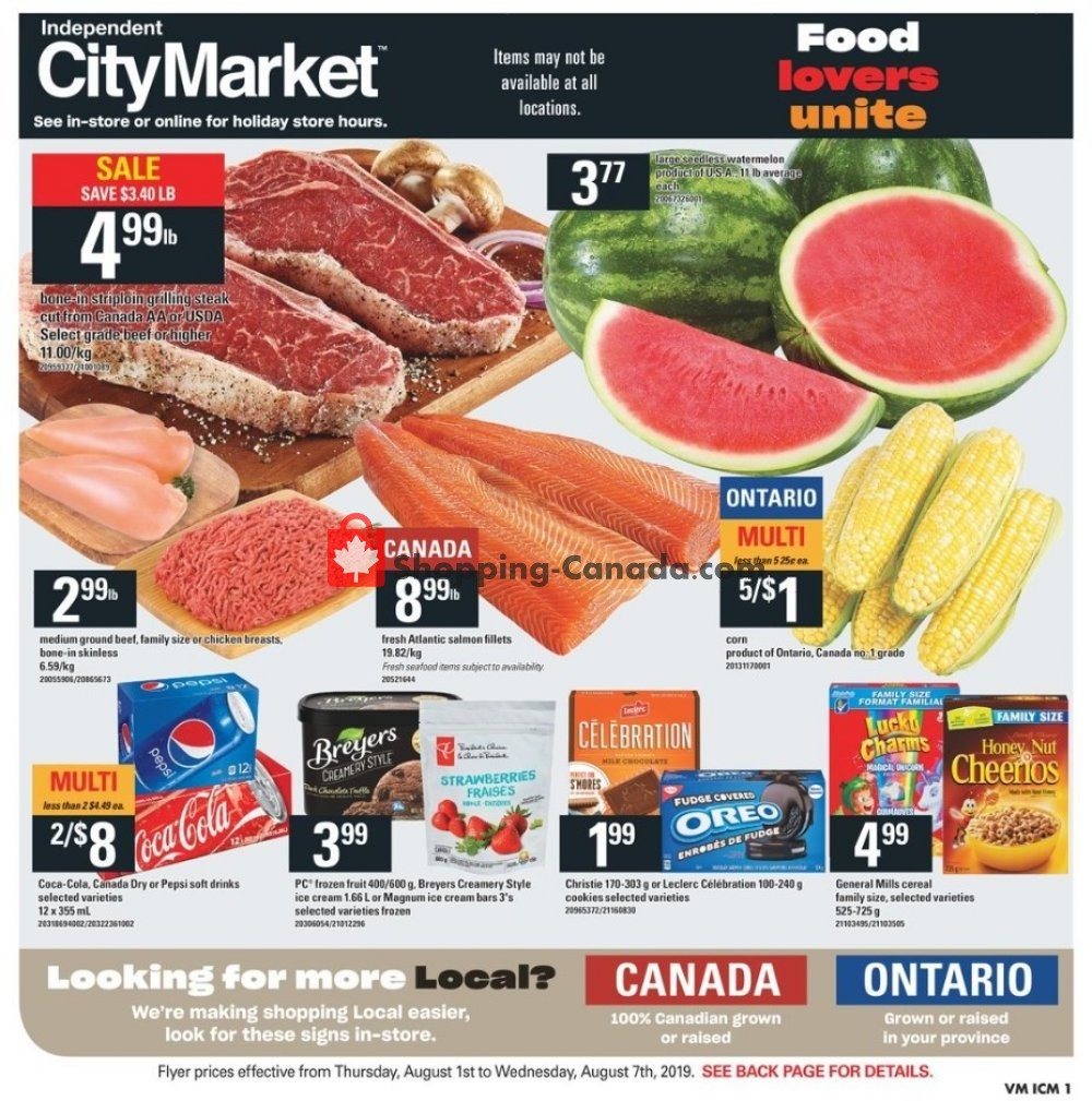 Flyer Independent City Market Canada - from Thursday August 1, 2019 to Wednesday August 7, 2019