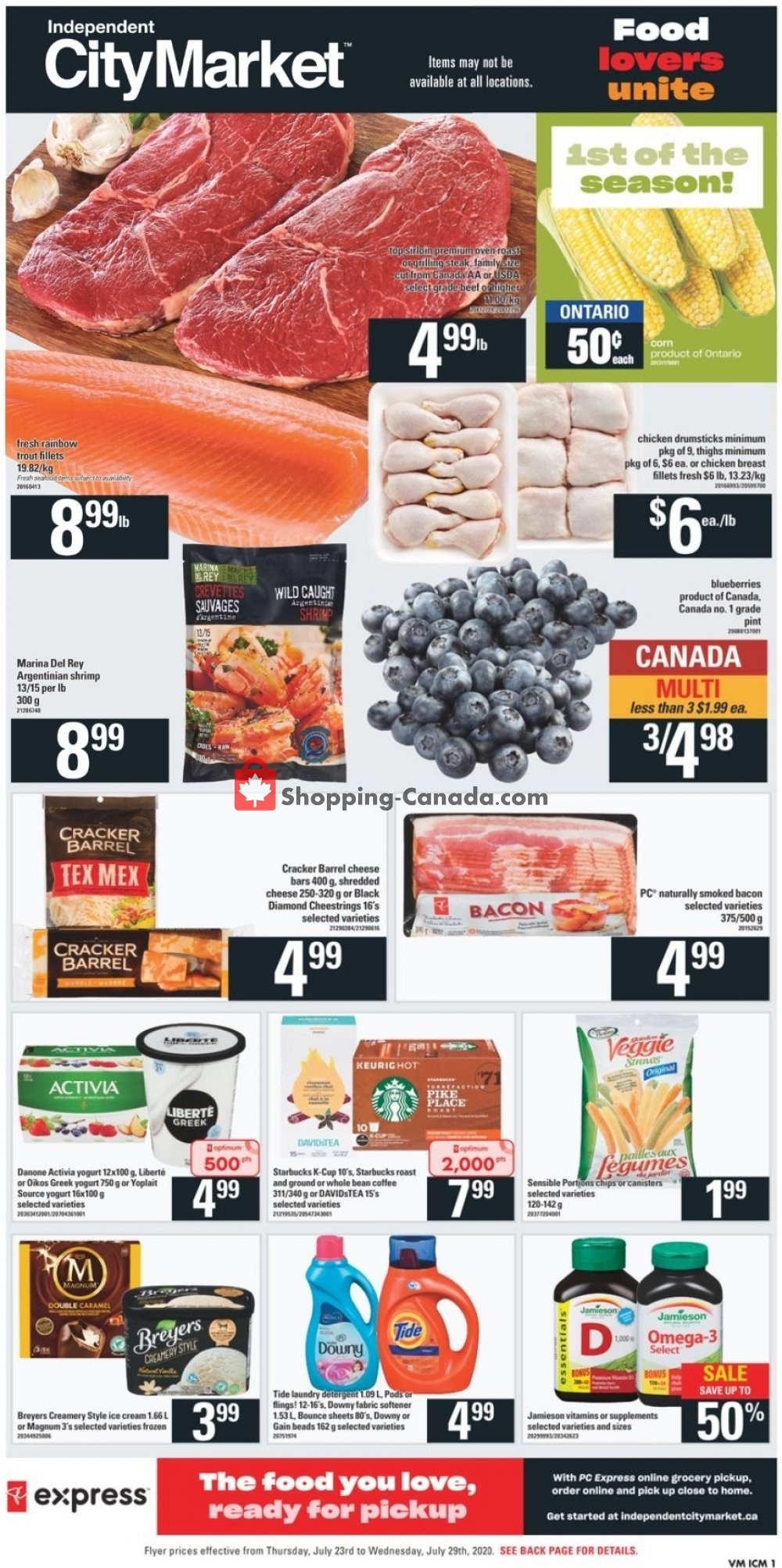 Flyer Independent City Market Canada - from Thursday July 23, 2020 to Wednesday July 29, 2020
