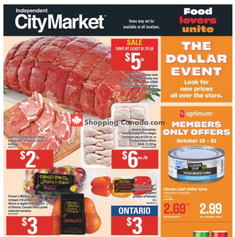Flyer Independent City Market Canada - from Thursday October 15, 2020 to Wednesday October 21, 2020
