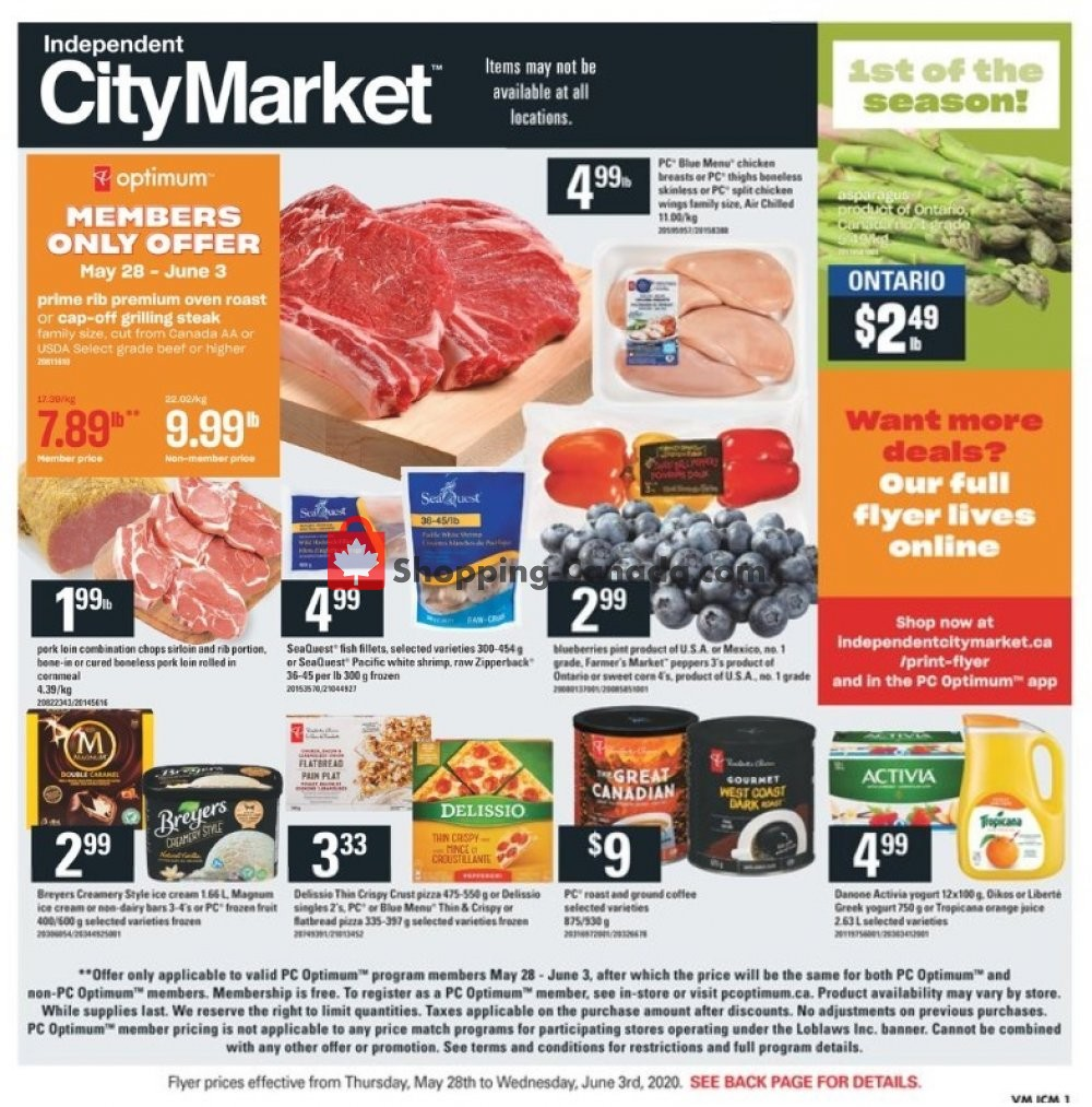Flyer Independent City Market Canada - from Thursday May 28, 2020 to Wednesday June 3, 2020
