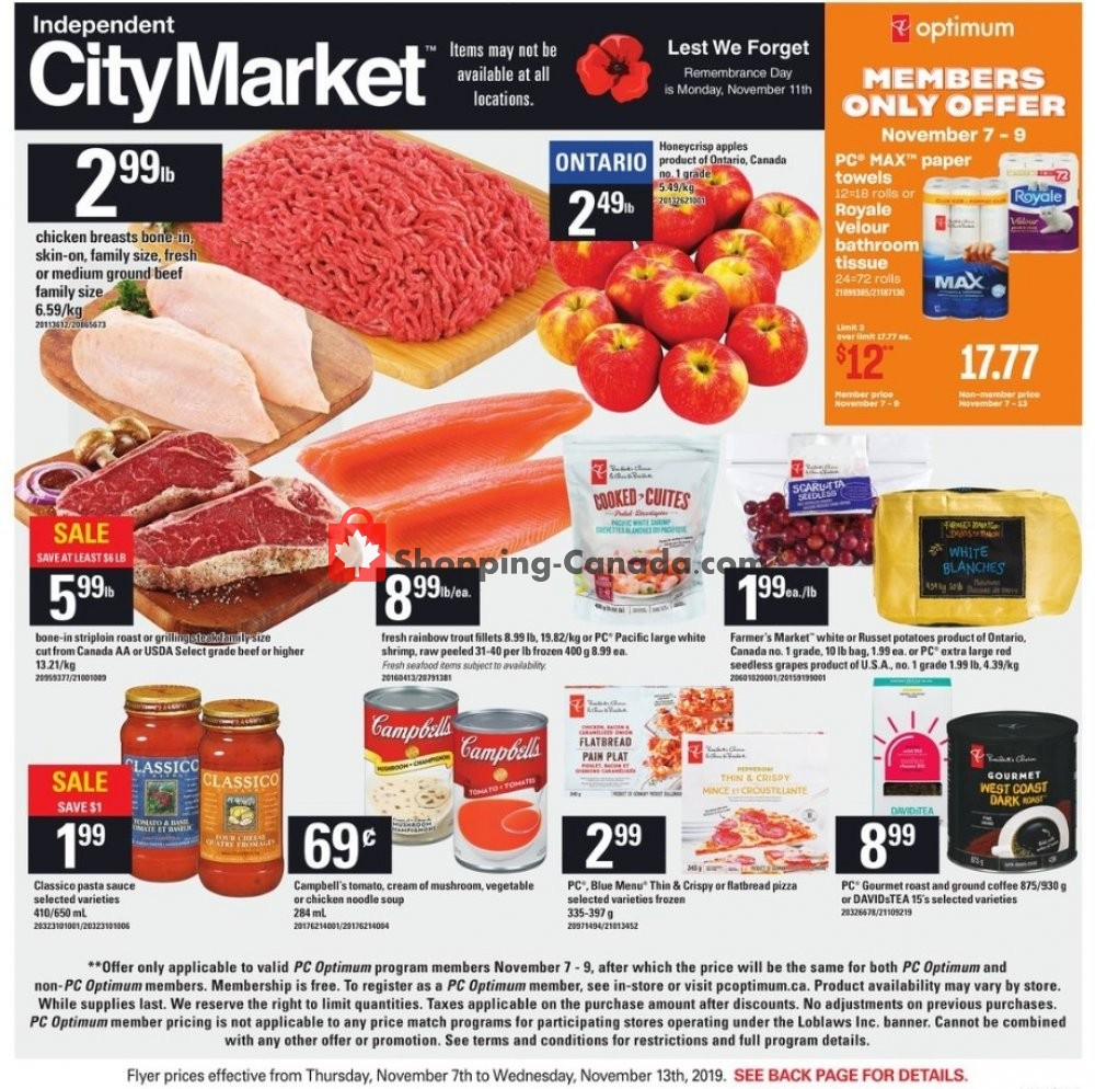 Flyer Independent City Market Canada - from Thursday November 7, 2019 to Wednesday November 13, 2019