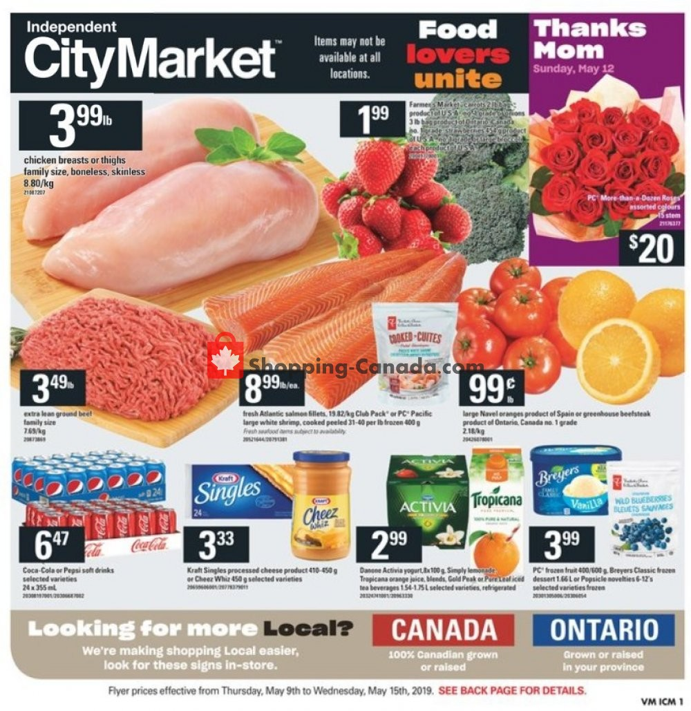 Flyer Independent City Market Canada - from Thursday May 9, 2019 to Wednesday May 15, 2019