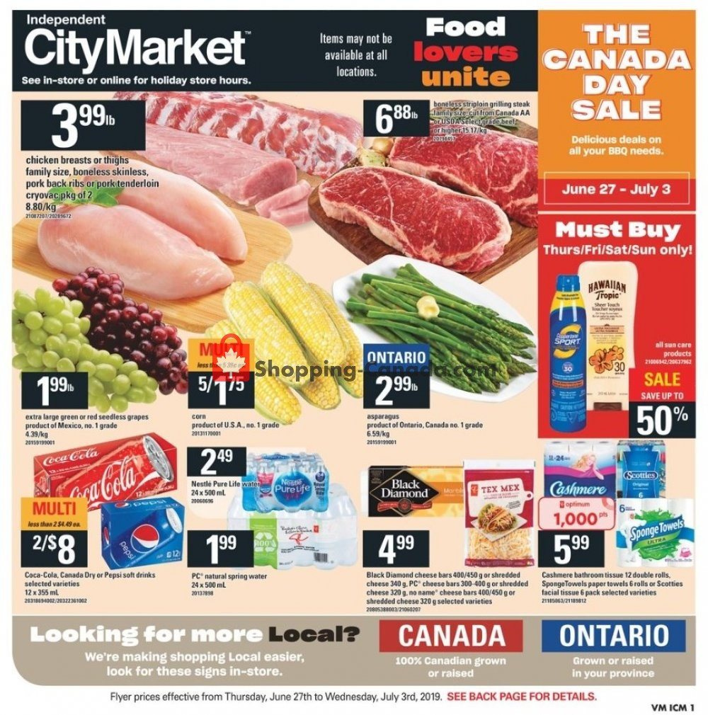 Flyer Independent City Market Canada - from Thursday June 27, 2019 to Wednesday July 3, 2019