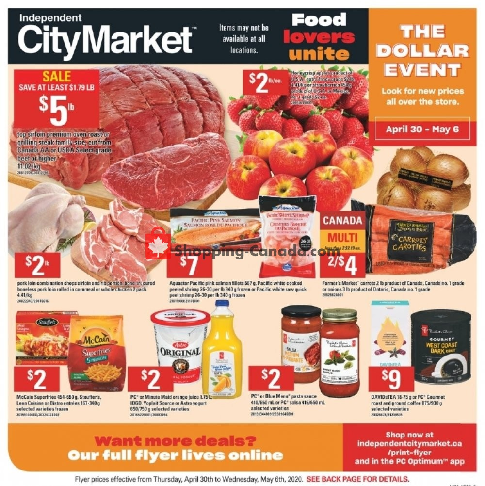 Flyer Independent City Market Canada - from Thursday April 30, 2020 to Wednesday May 6, 2020