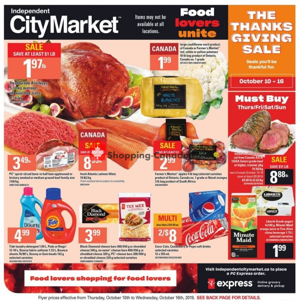 Flyer Independent City Market Canada - from Thursday October 10, 2019 to Wednesday October 16, 2019