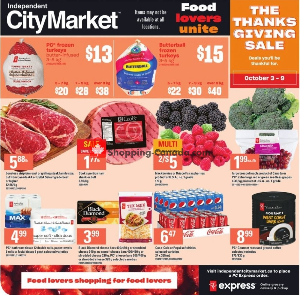 Flyer Independent City Market Canada - from Thursday October 3, 2019 to Wednesday October 9, 2019