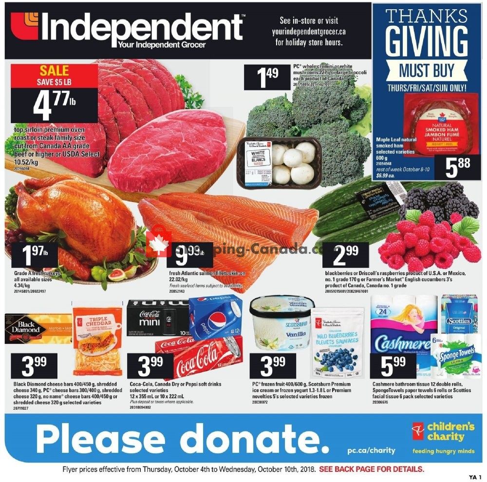 Flyer Your Independent Grocer Canada - from Thursday October 4, 2018 to Wednesday October 10, 2018