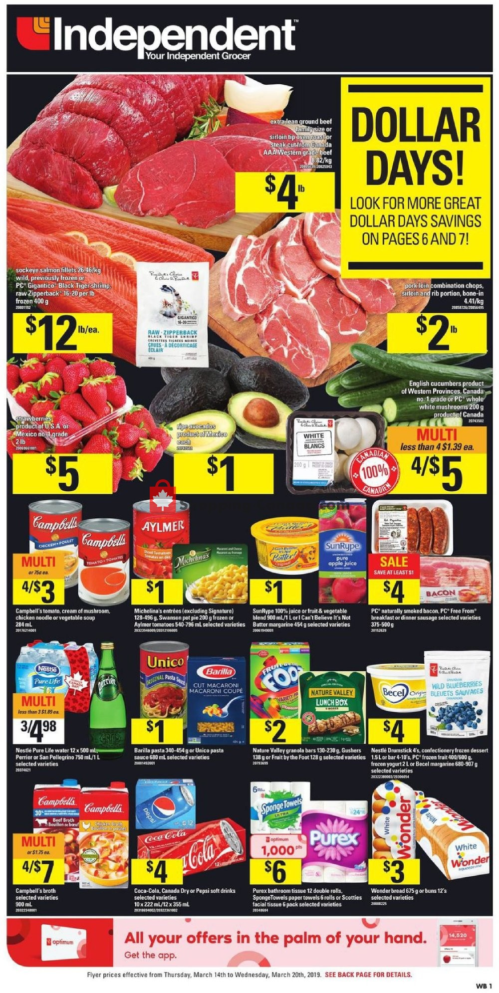 Flyer Your Independent Grocer Canada - from Thursday March 14, 2019 to Wednesday March 20, 2019