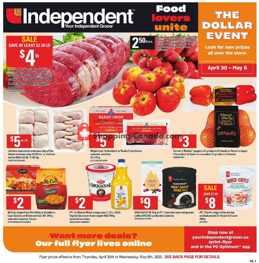 Flyer Your Independent Grocer Canada - from Thursday April 30, 2020 to Wednesday May 6, 2020