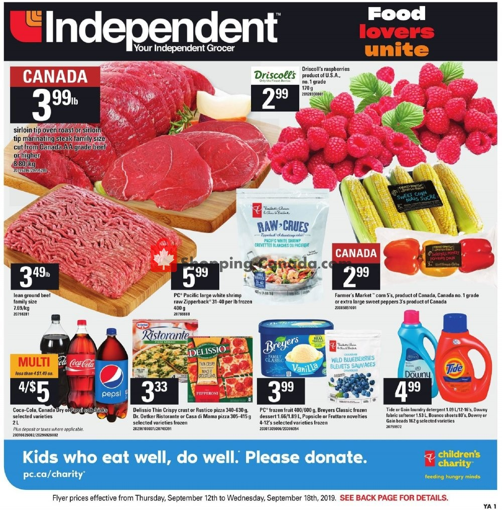 Flyer Your Independent Grocer Canada - from Thursday September 12, 2019 to Wednesday September 18, 2019