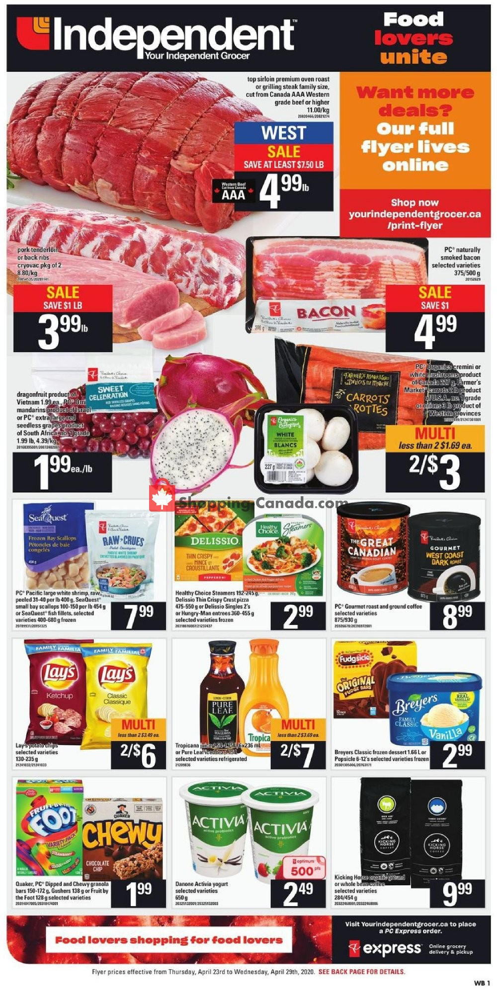 Flyer Your Independent Grocer Canada - from Thursday April 23, 2020 to Wednesday April 29, 2020