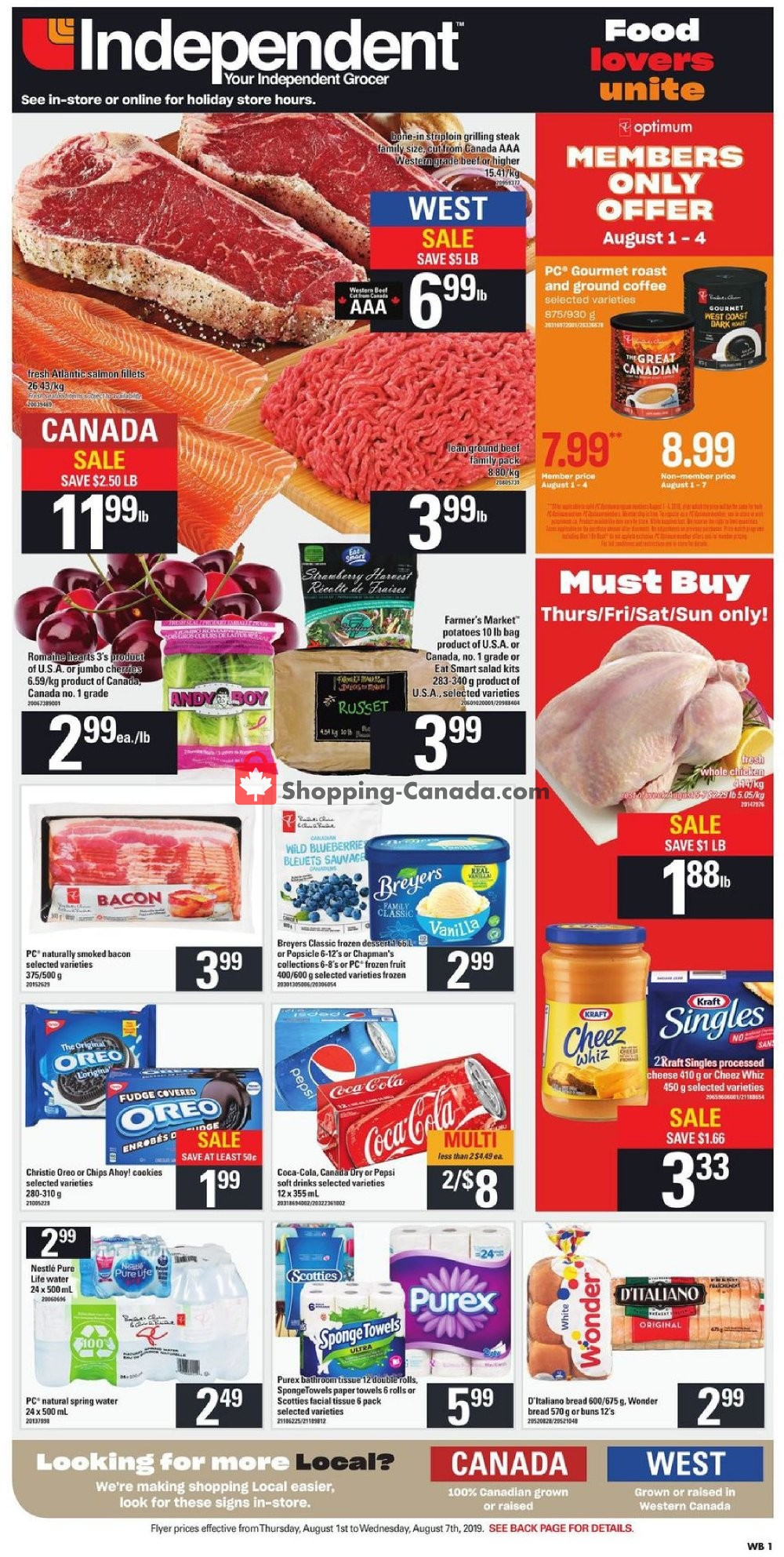 Flyer Your Independent Grocer Canada - from Thursday August 1, 2019 to Wednesday August 7, 2019