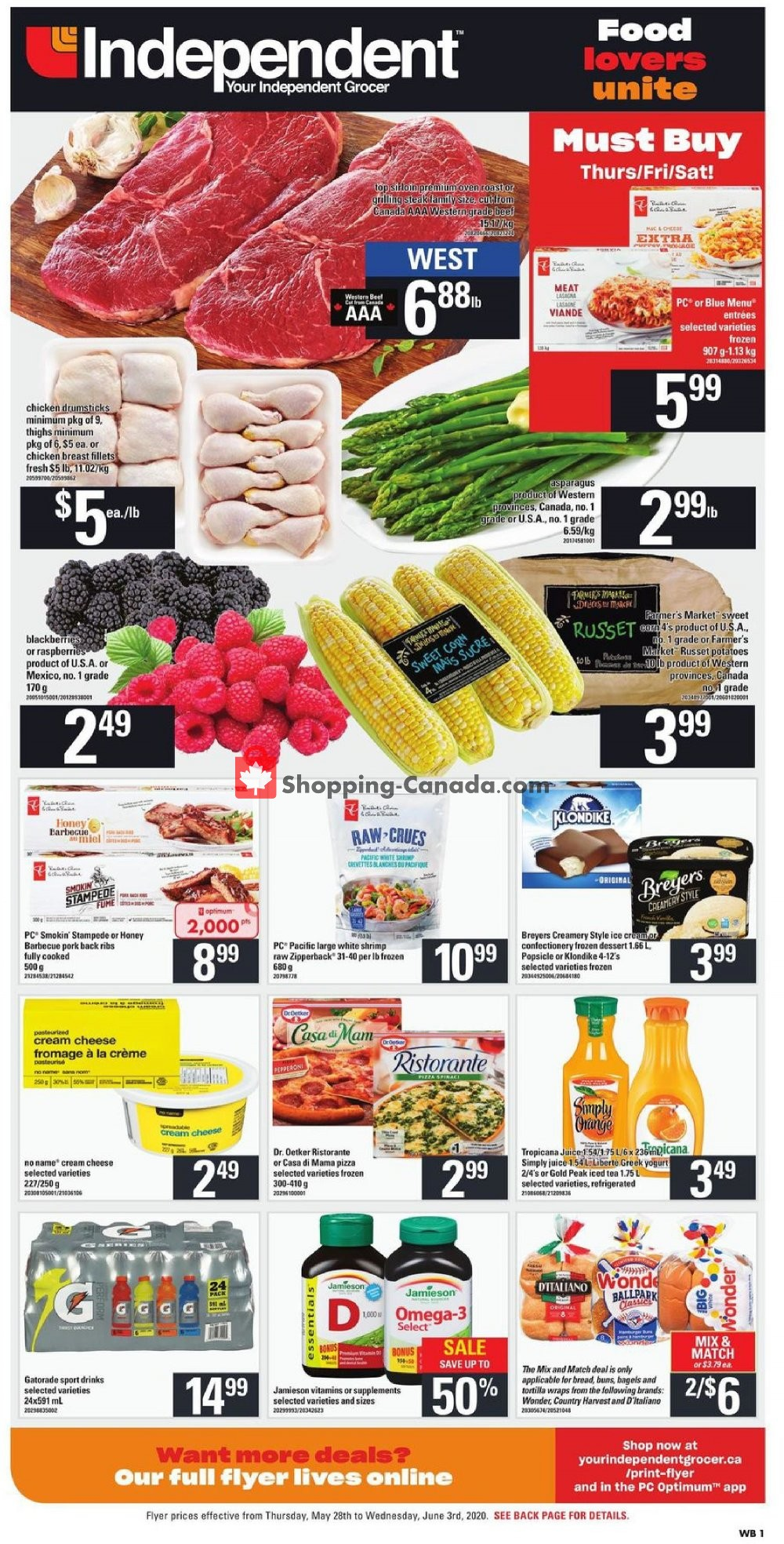 Flyer Your Independent Grocer Canada - from Thursday May 28, 2020 to Wednesday June 3, 2020