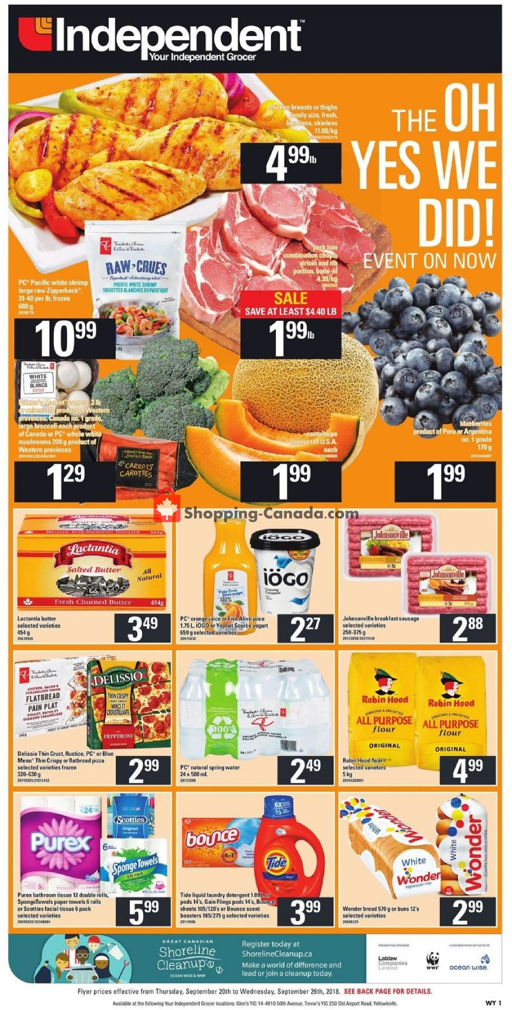 Flyer Your Independent Grocer Canada - from Thursday September 20, 2018 to Wednesday September 26, 2018