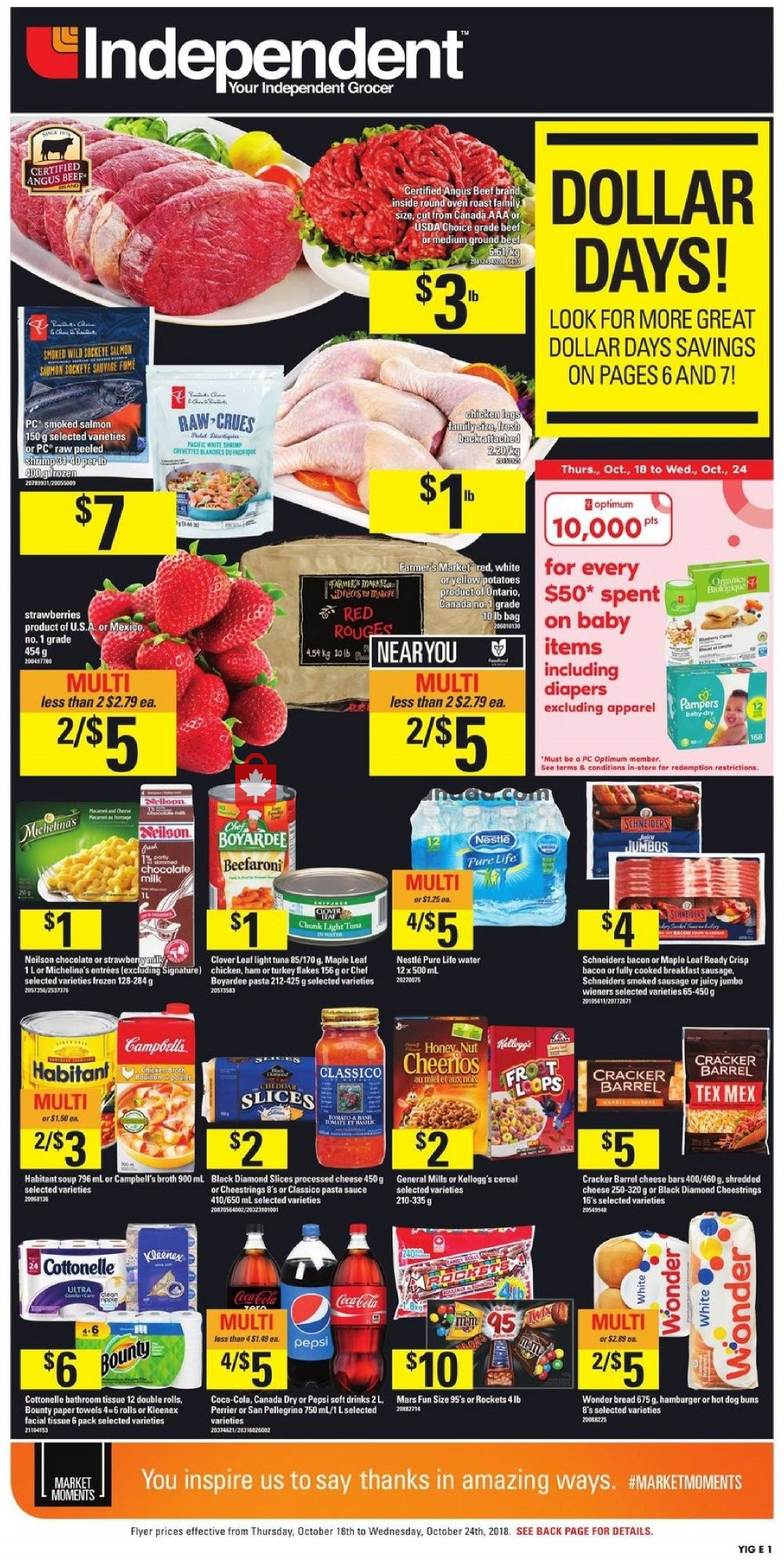 Flyer Your Independent Grocer Canada - from Thursday October 18, 2018 to Wednesday October 24, 2018