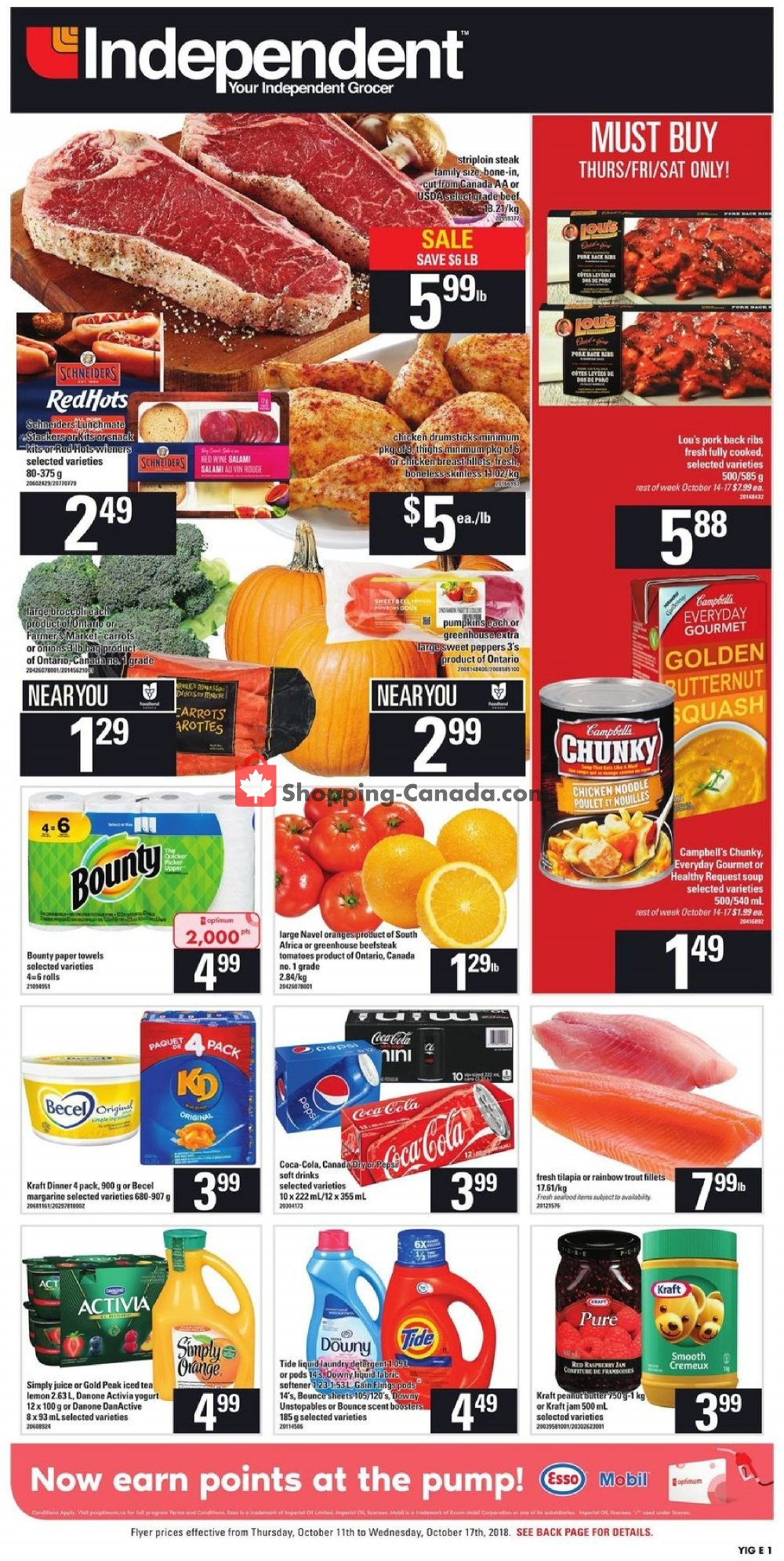 Flyer Your Independent Grocer Canada - from Thursday October 11, 2018 to Wednesday October 17, 2018