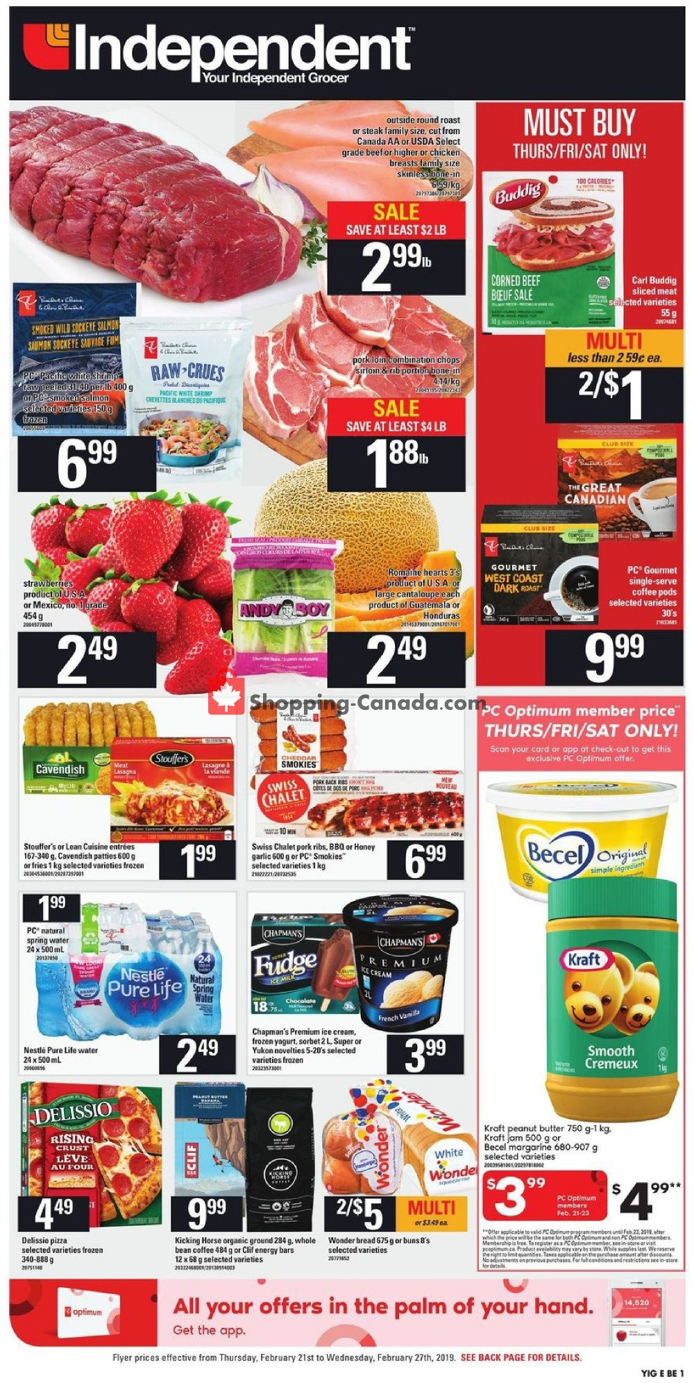Flyer Your Independent Grocer Canada - from Thursday February 21, 2019 to Wednesday February 27, 2019